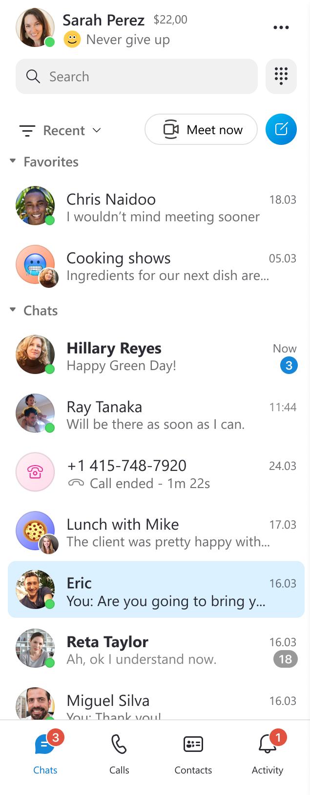 Image of Skype side bar after the changes on modern design.