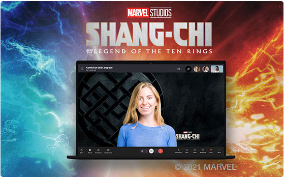 Marvel Shang Chi background replace on a Skype call.