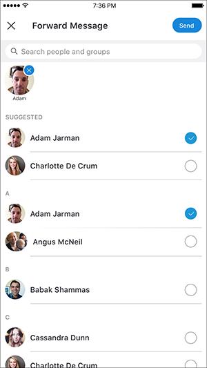 Зображення, де показано, як вибирати людей, щоб поділитися записами викликів