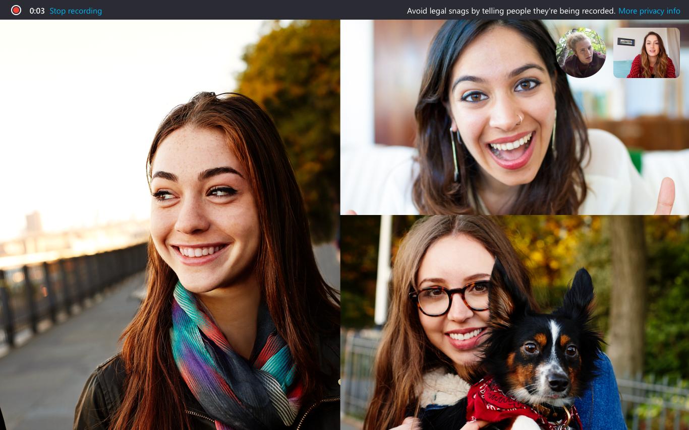 إعلان Skype لسطح المكتب أنه يتم تسجيل المكالمة