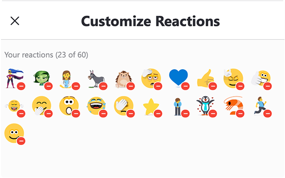 You can customize your reactions in Skype