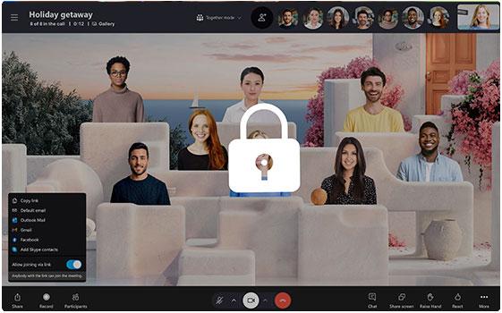 Låst Skype-opkald, mens Sammen-tilstand er slået til på