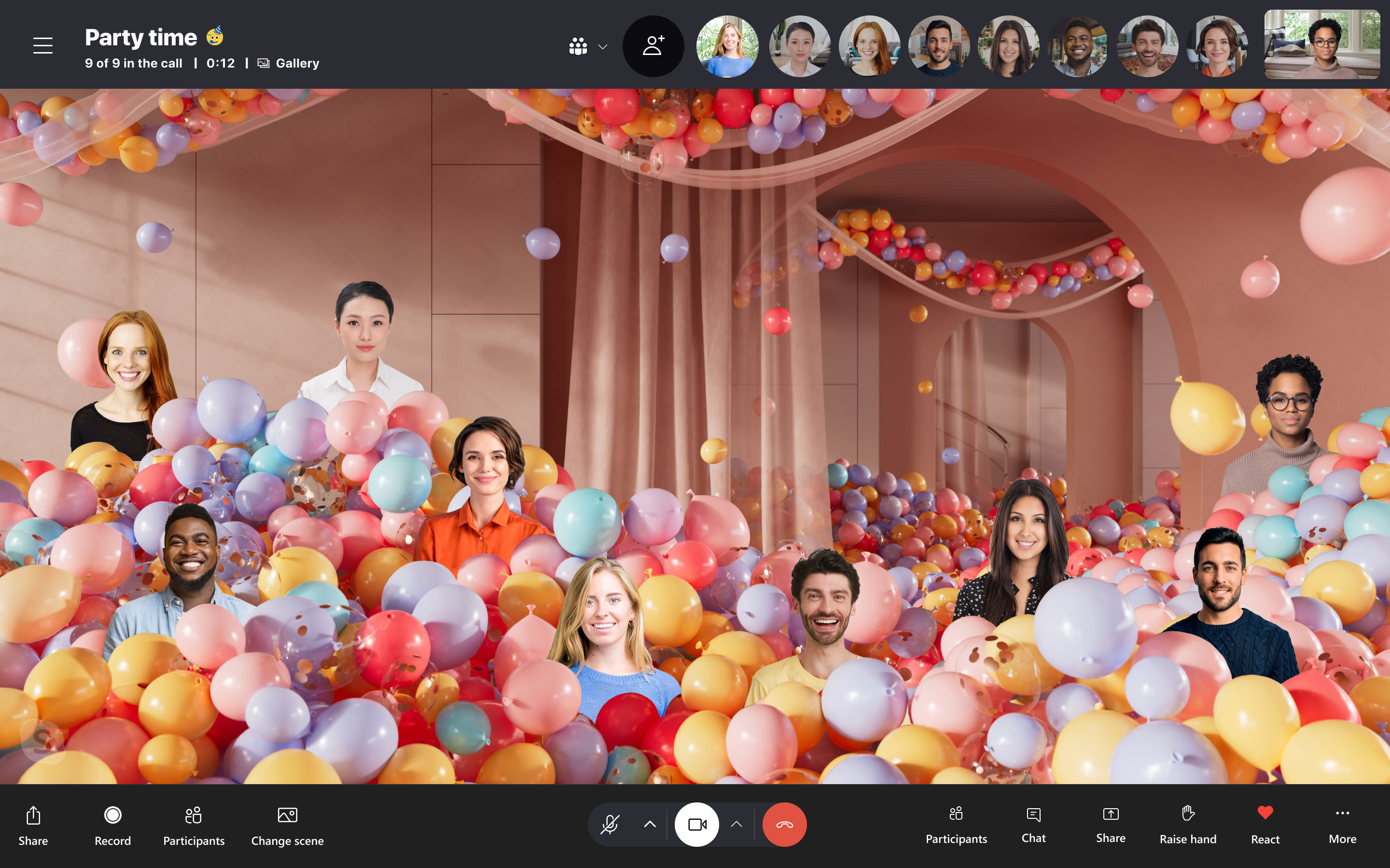 Skype Together Mode in action with Party background