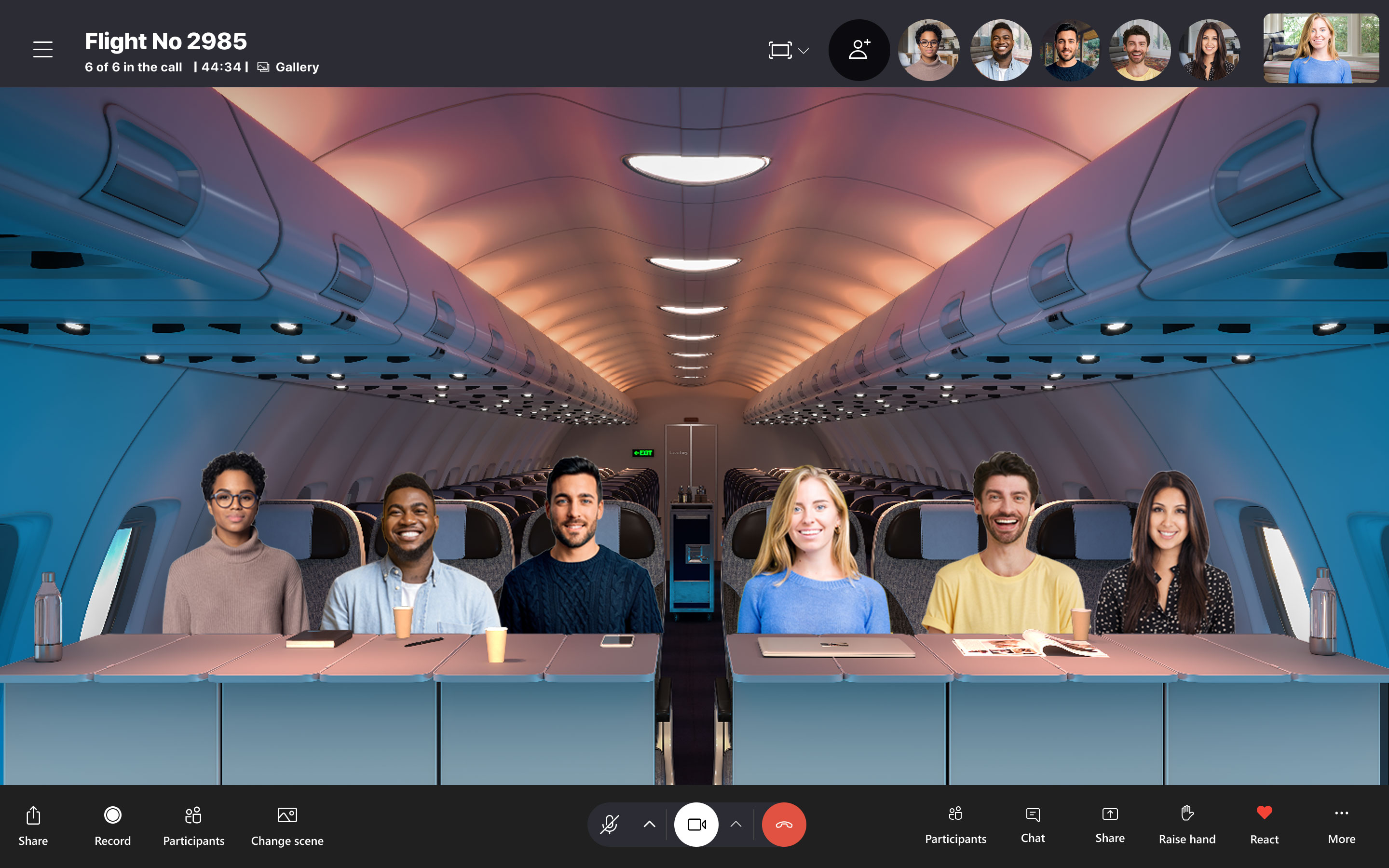 Skype Together Mode in action with Plane background
