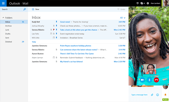 Skype for Outlook.com interface