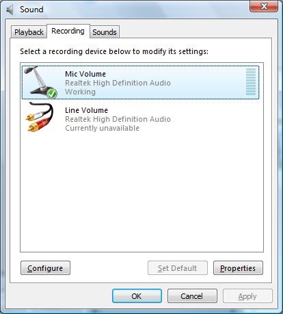 Записывающие устройства Vista